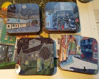 Set of 4 Coasters based on Sandwich (Kent) paintings by Richard Friend SET B