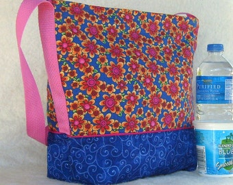 Flowers on Blue Insulated Lunch Bag  OOAK