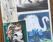 Graceful Swans Vintage Bird Collage, Scrapbook and Planner Kit Number 2187