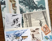 Avalanche Warning Vintage Danger in the Alps Collage, Scrapbook and Planner Kit Number 1974