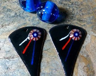 Enameled Copper Earring Drops Pair w/ Lampwork Beads