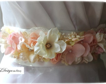 Blushing Bride rhinestone, pearl and floral sash by KgDesign