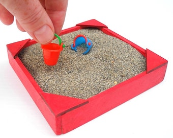 Miniature Sandbox For Miniature Gardens, Hand Painted, Treated for Outdoor Use, Cherry Red, Made in the USA, Fairy Gardens, American Zen