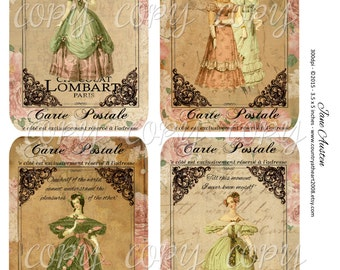 INSTANT DOWNLOAD  - Jane Austen - 3.5 x 5 inches - Printable  Digital Collage Sheet - Down Load Images - Tags