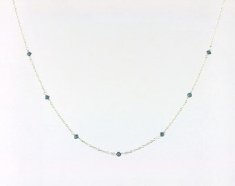 Faceted Blue Diamond Bead Station Necklace in Silver