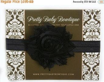SALE Baby Headband - Black Infant Headband - Black Shabby Flower On Black Stretch Baby Girl Headband