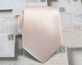 Mens Ties. Pastel Peach Pale Apricot Petal Angel Blush Checkered Pattern Silk Necktie With Matching Pocket Square Option