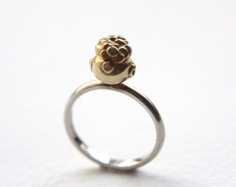 Pot Of Gold Ring, Sterling Silver, Gold Plate, Handmade in Brighton, UK