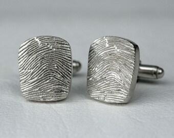 Wedding Fingerprint CuffLinks Cuff Links Custom Men Personalized in Sterling Silver