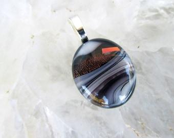 Black White Swirl Copper Dichroic Pendant - Fused Glass