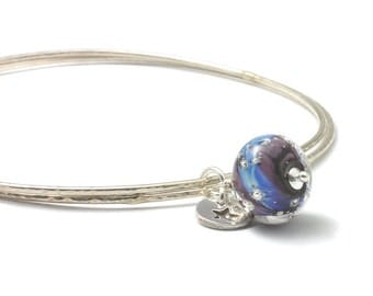 Charm Bangles | Slim Sterling Silver Bangles with Lampwork Glass and Fine Silver Charms | 'Violet Star' Stacking Bangles | UK