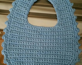 Crochet Cotton Baby Bib in Blue
