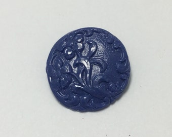 Large Floral Scroll - Lapis Blue - Hand Made Clay Button