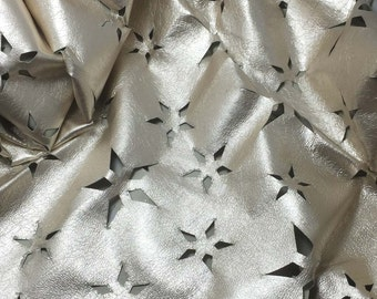 "Perforated Star Floral Metallic SILVER Lambskin Leather Hide 12""x12"" Piece 1 square foot"