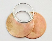 Sterling Silver Brass Crescent Earrings Hoops Boho Chic Brushed Satin Ready to Ship