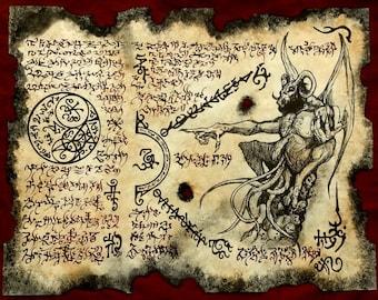 Cthulhu larp KADATH DEMON Necronomicon fragment Scroll Magick occult witch dark spirit haunt