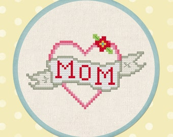 Sweet Mom Tattoo. Cross Stitch Pattern PDF Instant Download