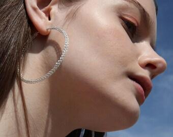 Large silver hoop earrings, Extra large sterling hoops, Summer earrings, Gypsy bohemian fashion, Large earrings