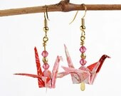 Pink Paper Earrings Online,Paper Art Jewelry,Origami Gifts for Friends,Origami Anniversary GIft,Origami Birthday Gift Ideas
