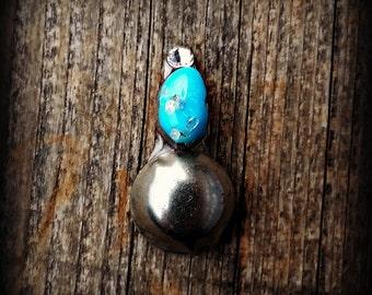 Genuine Turquoise Bindi - Silver Dome