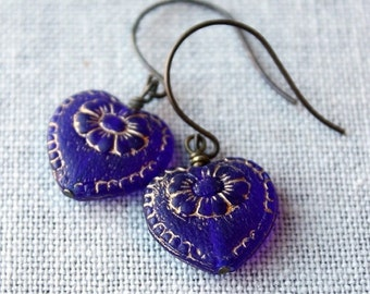 On SALE / CIJ Sale / Blue Heart Earrings, Cobalt Blue, Victorian Hearts, Valentine, Drop Earrings, Gold Floral Inlay,Wedding