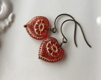 Red Heart Earrings / Victorian Hearts / Heart Drop Earrings / Gold Floral Inlay / Wedding