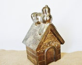 Reserved for Momo  -  vintage coin bank, peanuts snoopy, silverplated metal, snoopy dog house bank, snoopy paperweight