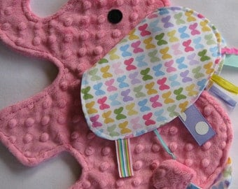 Flutter Pink Elephant Sensory Security Blanket