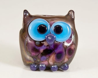 RESERVED for Dawn - Silver Plum Purple Owl Lampwork Bead
