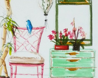 Chinoiserie Furniture, Pastel Colors, Fine Art Print of my Original Illustration, Bamboo Chair, Painting of Interior