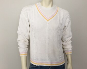 Vintage 1980s Prep Tennis Golf V Neck Sweater