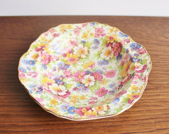 Vintage porcelain chintz bowl or dish, made in England, FENTON