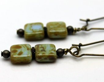 Czech Picasso Flat Square Firepolished Dangle Earrings, Blue Green Earrings, Czech Earrings, Dangle Earrings, Vintage Style Earrings