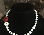 Day of the Dead Statement Necklace Pure White Sea Coral beaded Necklace- Where Every Design Tells A Story-