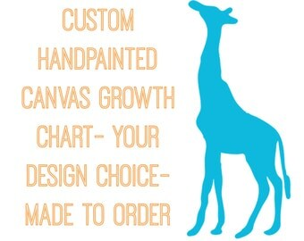 Custom Handpainted Canvas Growth Chart- Your Design Choice- Made to Order