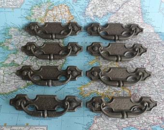 SALE! 8 vintage curvy distressed brass metal pull handles