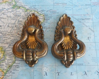 SALE! 2 vintage brass metal pull handles w/ textured trimplates