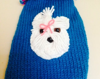 Small  Hand Knit Dog Sweater Chihuahua Maltese Dog Clothes Puppy