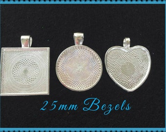 10 Silver Plated Round Bezels Pendant Trays 25mm STURDY 1 inch Settings Heart Circle Square Photo Jewelry Key Chains Making Cabochon Setting