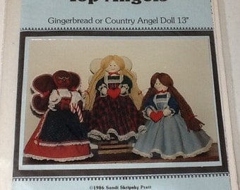 Gingerbread or Country Angel Tree Topper Angel Craft, Decorations Pattern uncut