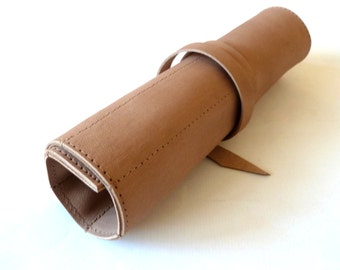 FREE SHIPPING, Leather Pencil Case Wrap, Large