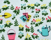 Vintage Cotton Tablecloth - Flowers Garden Rake / Wheelbarrow / Watering Can / Basket/ Pink Yellow Blue Green Flowers Table Cloth