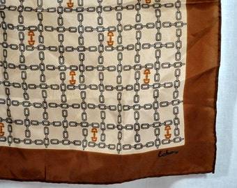 Vintage Echo Silk Scarf - Made in Japan - Chains Brown Black Gold