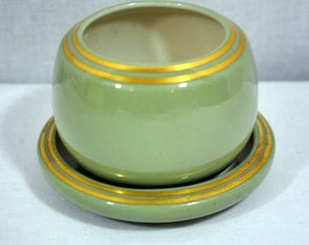 Vintage Lenox Celadon Green Bowl with Underplate - Jelly Jar - Candy Dish - Gold Trimmed