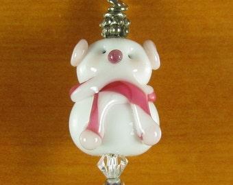 Pink Snowman SRA Lampwork Bead Pendant Charm