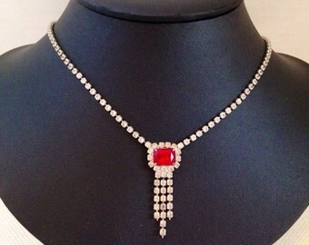Red and White Vintage Rhinestone Necklace 17 1/2 inches, Princess Classic Beauty
