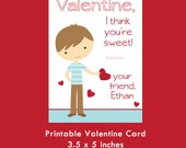Boy Valentine Card, Printable Card, Kids Valentine Cards, Valentine for Girls