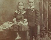 PHOTOGRAPH/CABINET CARD Brother and Sister Sepia Photograph