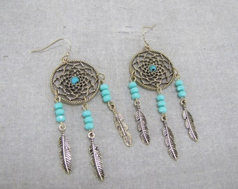 Dream Catcher Earrings With Genuine Turquoise