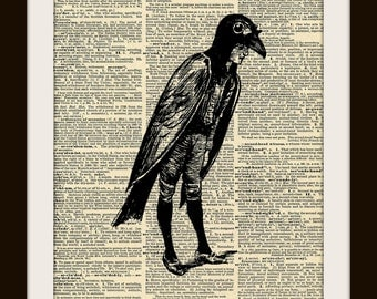 Crow Boy 8x10 Dictionary Art Print GOLD GILDED Vintage Page
